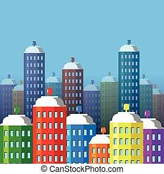 城市, 建筑物, 相象, 套間, skyscrapers., 風格, 水霧, 矢量, 煙, 罐頭, paint., illustration.
