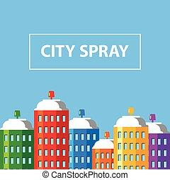 城市, 建筑物, 相象, banner., skyscrapers., 風格, 套間, 畫, 水霧, 矢量, 煙, 罐頭, illustration.