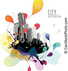 城市, 摘要, 天空, scape., 插圖