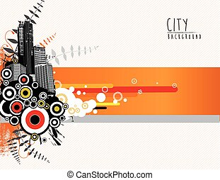 城市, 摘要, scape., 樣板, 插圖