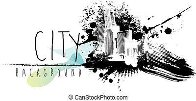 城市, 摘要, text., 插圖, 地方, scape, 你
