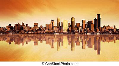 城市, 日出, 看法