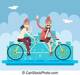 城市, 概念, 自行車, 背景, 城市, 字符, 匯接, 街道, 套間, 同伴, 矢量, 設計, 插圖, 女性, 騎馬, 行家, 男性, 創造性, 風景