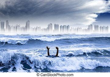 城市, 淹死, concept., 全球, 水, 破坏, 天氣, 風暴, 極端, 變暖和, 人
