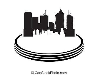 城市, 白色, 矢量, 背景, 插圖