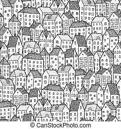 城市, 白色, seamless, balck, 圖案