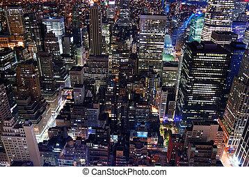 城市, 空中, 城市地平線, 建築學, 看法