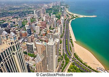 城市, 空中, 芝加哥, 看法