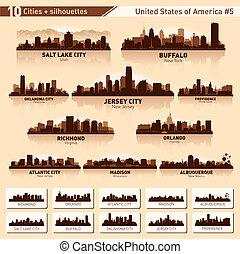 城市, 美國, 10, 黑色半面畫像, set., #5, 地平線