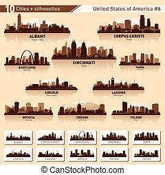 城市, 美國, 10, set., 地平線, 黑色半面畫像, #6
