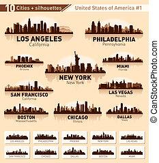 城市, 美國, 10, set., 地平線, #1, 城市