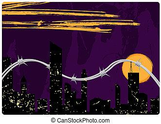 城市, 背景, grunge