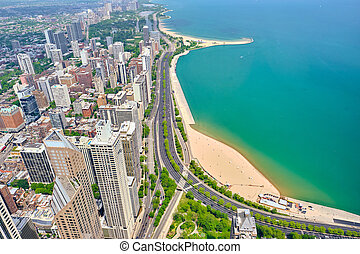 城市, 芝加哥, 空中的觀點