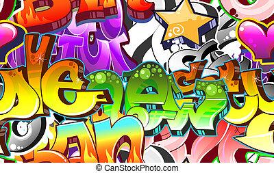 城市, 藝術, seamless, 背景。, graffiti, 設計