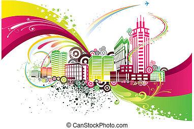 城市, 鮮艷, 背景