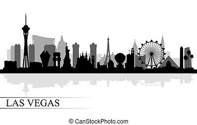 城市, 黑色半面畫像, 地平線, vegas, 背景, las