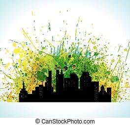 城市, 黑色半面畫像, 畫, 顏色, eco, 綠色, 背景。, 背景, 飛濺