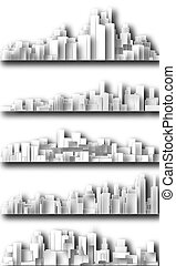 城市, cutout, 地平線