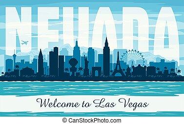 城市, vegas, 黑色半面畫像, 地平線, 矢量, 內華達, las