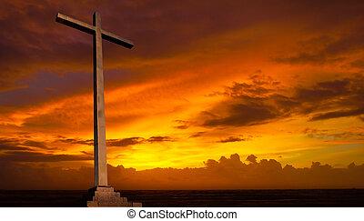 基督教徒, 背景。, sky., 產生雜種, 宗教, 傍晚