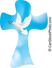 基督教徒, 離開, 和平, 天空, 產生雜種, 背景。, 矢量, 橄欖, 鴿, 符號