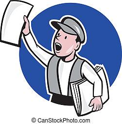報紙, 環繞, 出售, 卡通, 報童