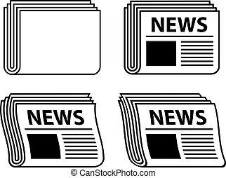 報紙, 符號, 波狀, 黑色, 矢量