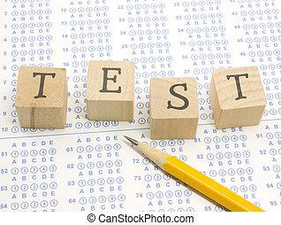 塊, pencil., scantron, 測試
