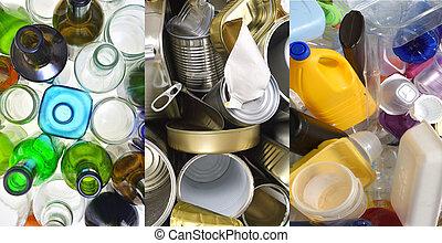 塑料, 再循環, 罐頭, 玻璃, 錫