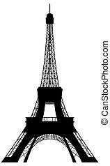 塔, eiffel, 黑色半面畫像