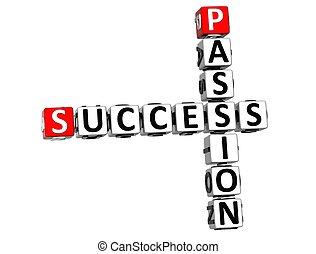 填字游戲, 成功, 3d, 激情