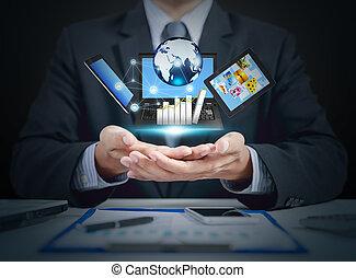 增加, 事務, 全球, 圖表, 片劑, 手, lcd, 成長, 商人, 屏幕, 禮物