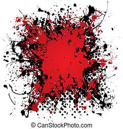 墨水, grunge, splat, 血液