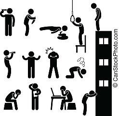壓下, 自殺, 人們, 悲哀, 殺死, 人