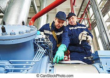 壓縮機, 工人, 工業, 加油站