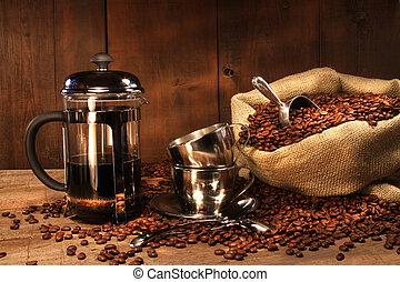 壓, 咖啡豆, 大袋, 法語