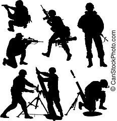 士兵, 黑色半面畫像, 武裝