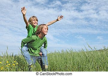 夏天孩子, 适合, 健康, 背負式運輸, 外面, 活躍, 玩, 愉快