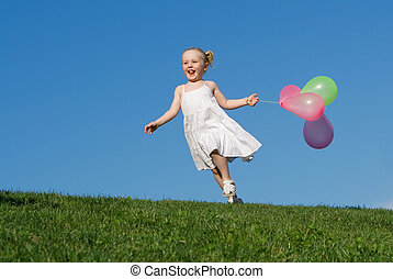 夏天, 在戶外, 跑, 孩子, 气球, 愉快