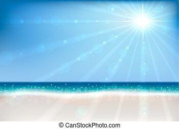 夏天, 太陽, flare., bokeh, 矢量, 背景, 海灘