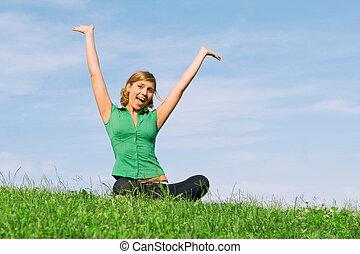 夏天, 婦女, 健康, 年輕, 在戶外, 愉快