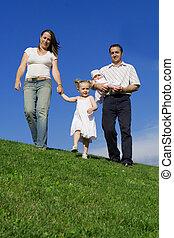 夏天, 家庭, 健康, 步行, 在戶外, 愉快