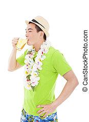 夏天, 年輕, 啤酒, 喝酒, 愉快, 人