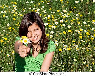 夏天, 微笑, 握住花, 孩子, 愉快