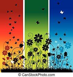 夏天, 摘要, 背景, 花, 蝴蝶
