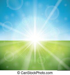 夏天, 明亮的太陽, 天, 閃光