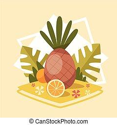 夏天, 概念, 夏季, 假期, 海, 菠蘿, 假期, 圖象