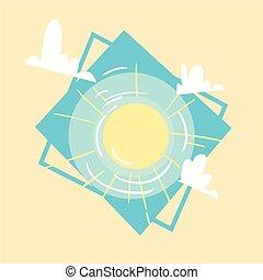 夏天, 概念, 夏季, 太陽, 假期, 海, 假期, 圖象