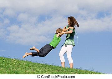 夏天, 母親, 在戶外, 年輕孩子, 玩