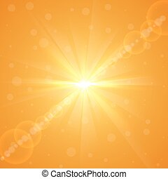夏天, 爆發, 太陽, 黃色, 背景。, 明亮, 矢量